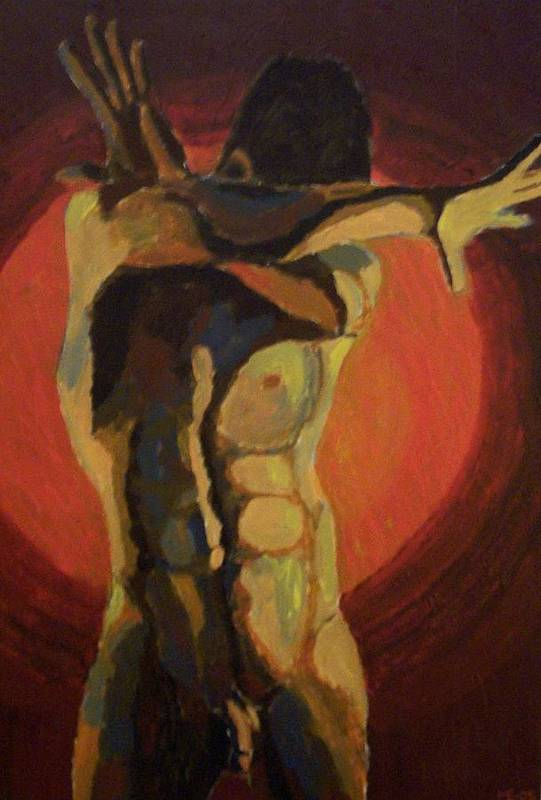 Nude Art Print featuring the painting Blinded by Mats Eriksson