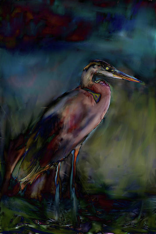 Painting Abstract Of Blue Heron Print featuring the painting Blue Heron Painting II by Don Wright