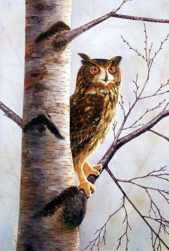 Great Horned Owl In Birch Art Print featuring the painting Great Horned Owl In Birch by Frank Wilson