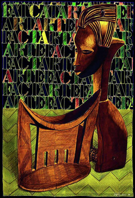 African Art Art Print featuring the drawing Headrest And Bobbin Alt. Colour by Ronald Rosenberg