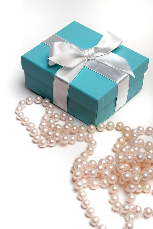 Anniversary Art Print featuring the photograph Little Blue Gift Box And Pearls by Amy Cicconi