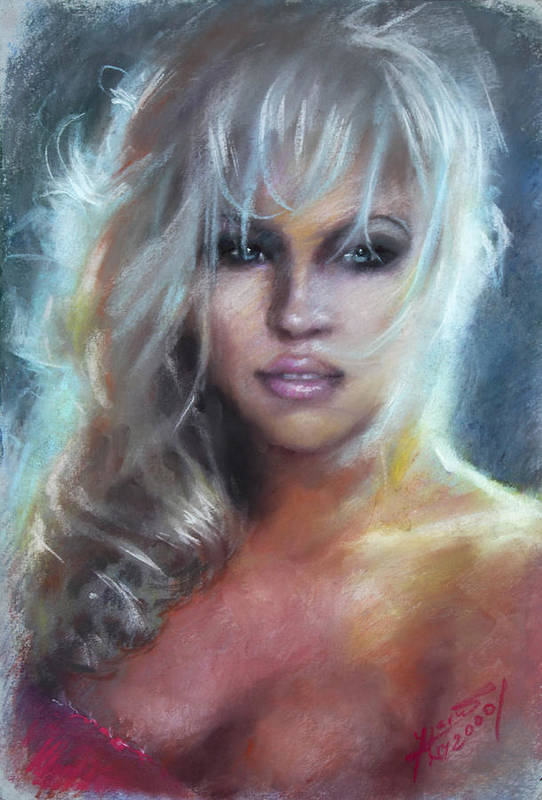 Pamela Anderson Print featuring the pastel Pamela Anderson by Ylli Haruni