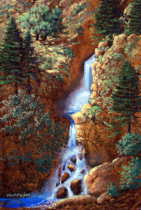 Wilderness Art Print featuring the painting Spring Cascade by Frank Wilson