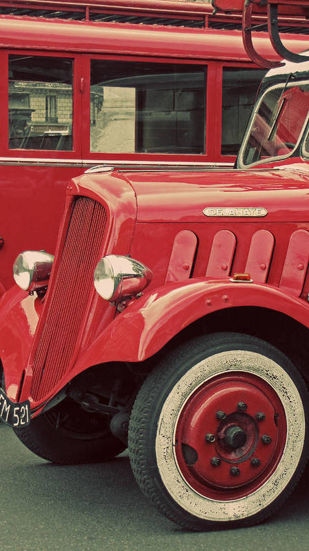 Red And Black Art Print featuring the photograph Vintage French Delahaye Fire Truck by Tony Grider