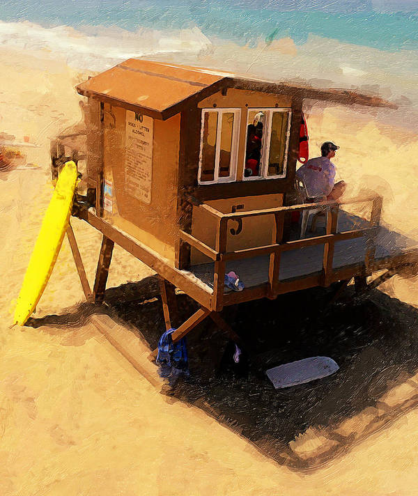 Lifeguard Station At San Clemente State Beach Art Print featuring the photograph The Ocean Guard by Ron Regalado