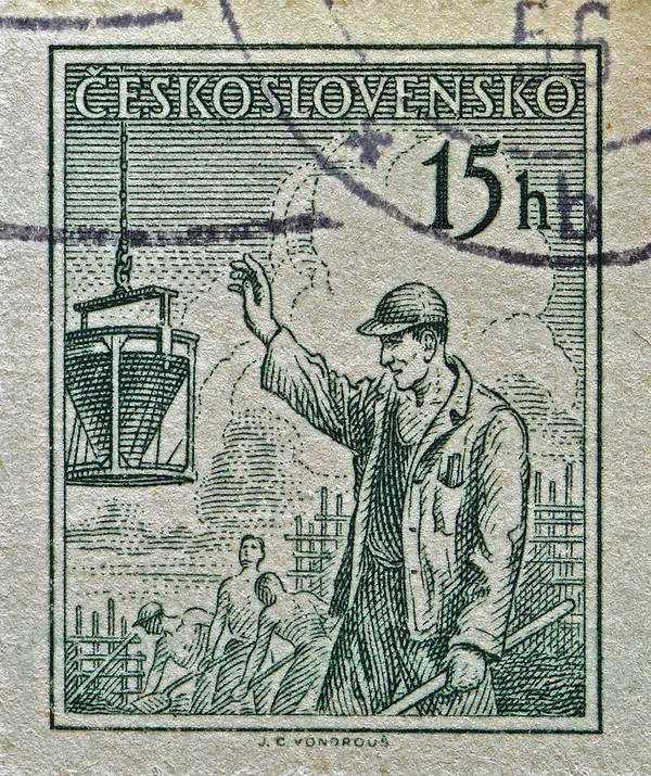 1954 Art Print featuring the photograph 1954 Czechoslovakian Construction Worker Stamp by Bill Owen