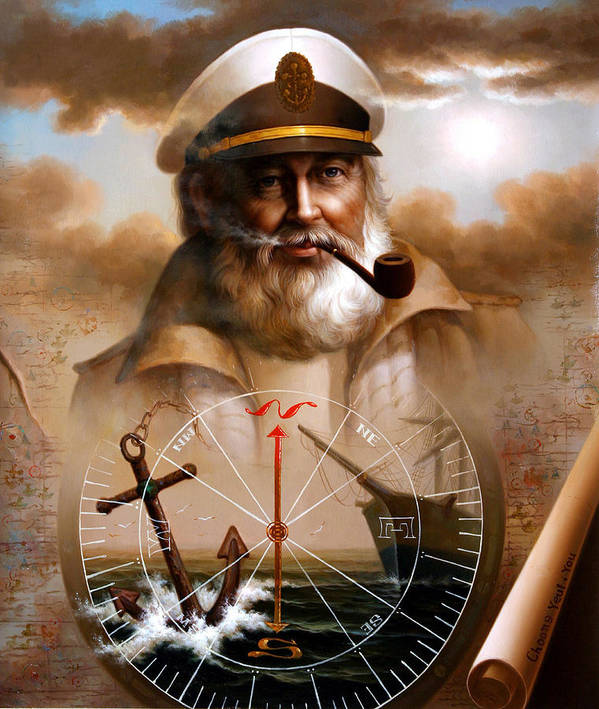 Sea Captain Art Print featuring the painting News Map Captain 5 Or Sea Captain by Yoo Choong Yeul