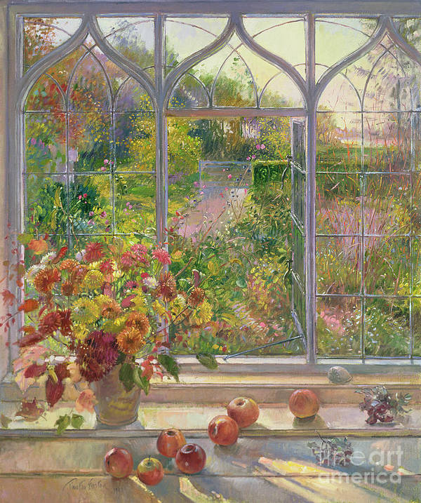 Window; Apple; Fall; Flower; Arrangement; View; Gothic; English Art Print featuring the painting Autumn Windows by Timothy Easton