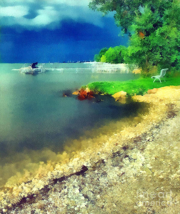 Odon Art Print featuring the painting Balaton Lake Shore by Odon Czintos