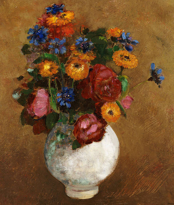 Still Life; Flower Art Print featuring the painting Bouquet Of Flowers In A White Vase by Odilon Redon
