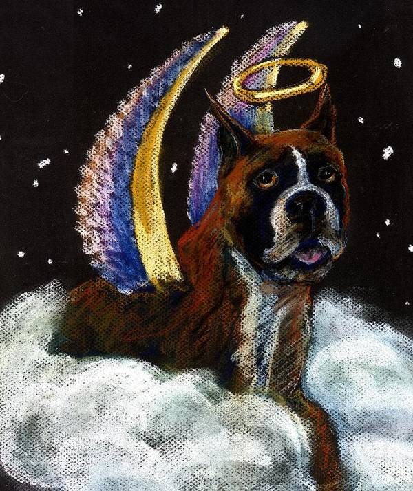 Boxer Art Print featuring the pastel Boxer Angel by Darlene Grubbs