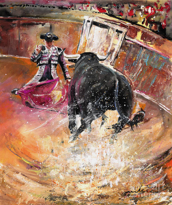 Bullfight Art Print featuring the painting Come If You Dare by Miki De Goodaboom