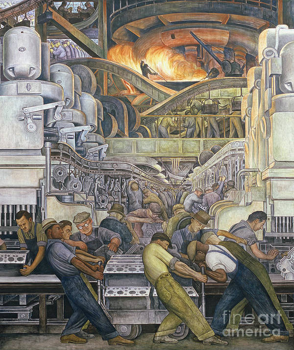 Machinery Art Print featuring the painting Detroit Industry North Wall by Diego Rivera