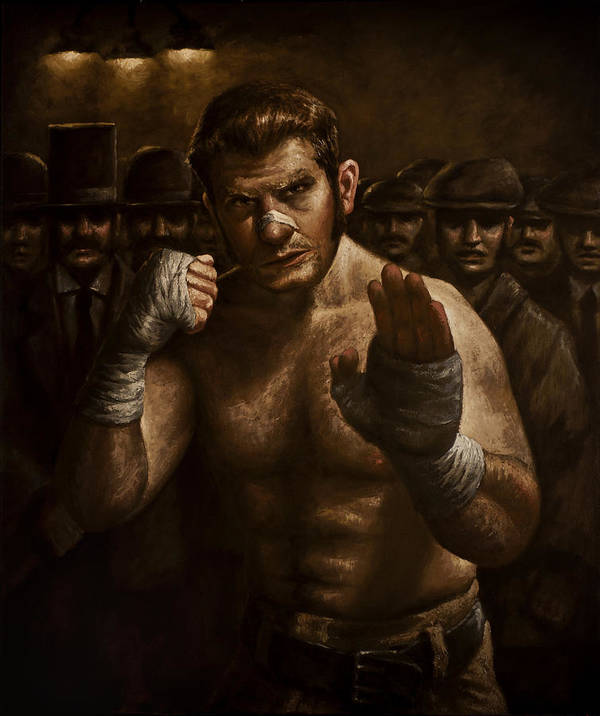 Fight Print featuring the painting Fight by Mark Zelmer