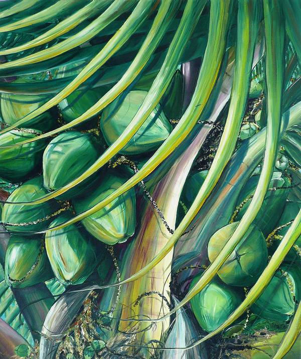 Coconut Painting Caribbean Painting Coconuts Caribbean Tropical Painting Palm Tree Painting  Green Botanical Painting Green Painting Art Print featuring the painting Green Coconuts 2 by Karin Dawn Kelshall- Best