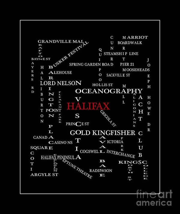 Halifax Nova Scotia Crosswords Red Art Print featuring the digital art Halifax Nova Scotia Crosswords Red by Barbara Griffin