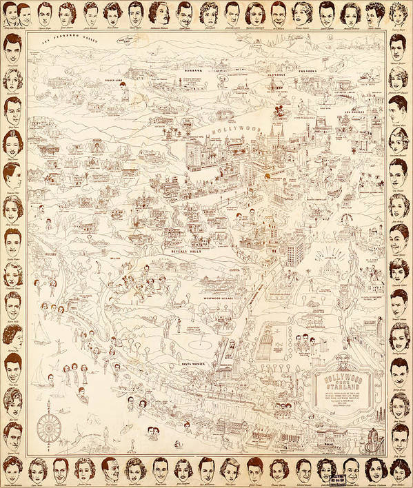 Hollywood Star Map Golden Age Celebrities 1937 Art Art Print featuring the painting Hollywood Star Map Golden Age Celebrities 1937 by MotionAge Designs