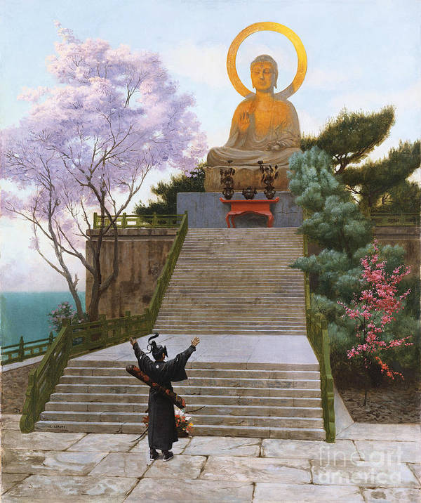 Japan Art Print featuring the painting Japanese Imploring A Divinity by Jean Leon Gerome