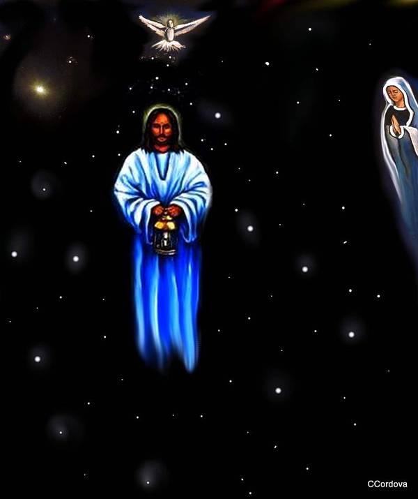 Jesus Art Print featuring the painting Jesus - The Guiding Light by Carmen Cordova