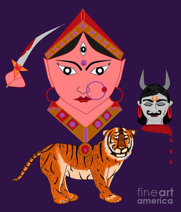 Nava Durga Art Print featuring the digital art Kaatyayani by Pratyasha Nithin