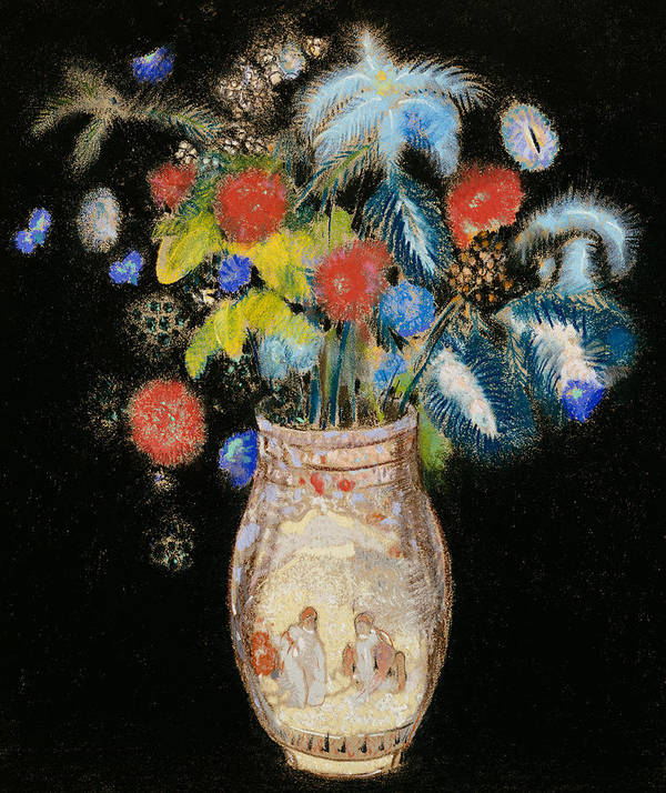 Still Life; Flower; Vase Print featuring the painting Large Bouquet On A Black Background by Odilon Redon