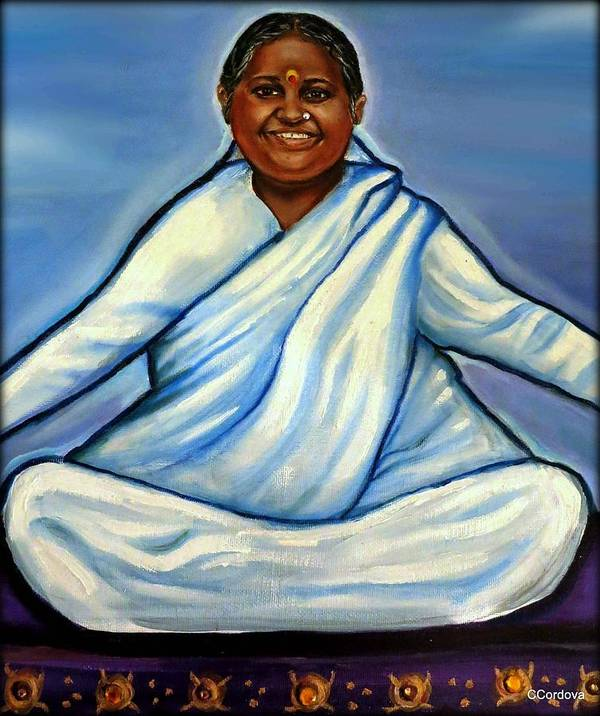 Amma Art Print featuring the painting Mata Amritanandamayi by Carmen Cordova