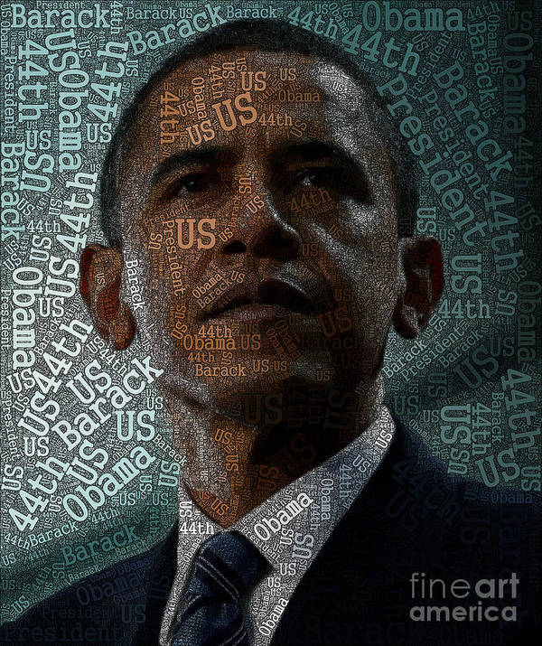 Obama Art Print featuring the painting Obama Text Art by Boon Mee