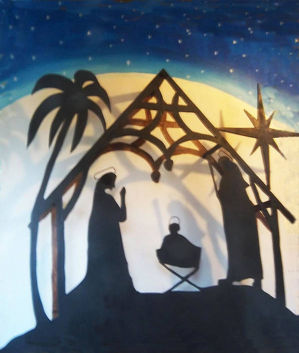 Nativity Art Print featuring the relief Pollysnativity by Gordon Wendling