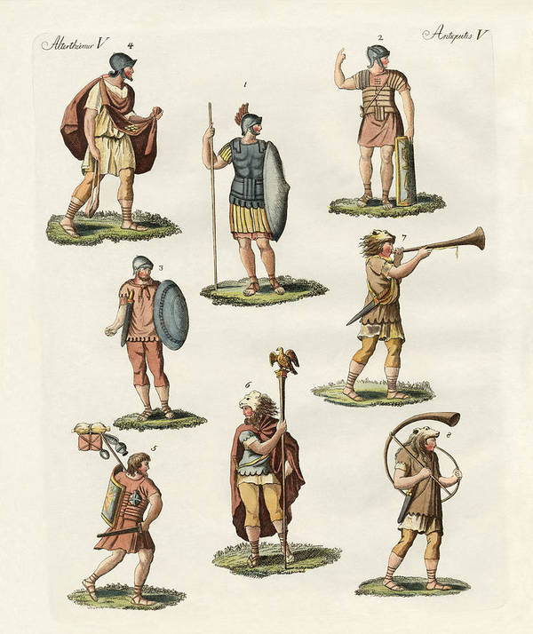 Roman Soldiers Art Print featuring the drawing Roman Foot Soldiers by Splendid Art Prints
