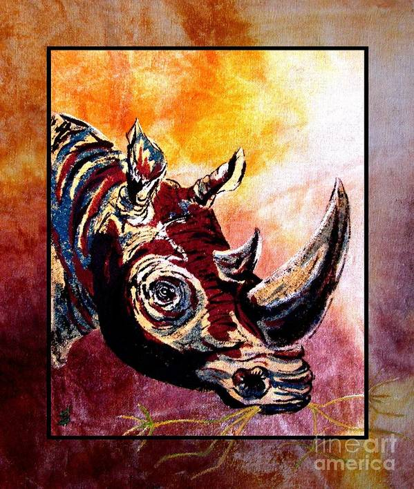 Rhino Painting Art Print featuring the painting Save The Rhino by Sylvie Heasman