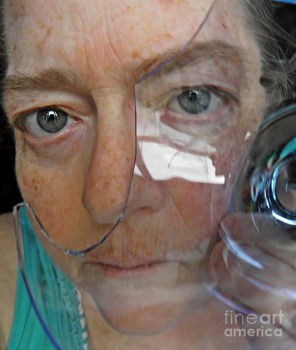 Portrait Print featuring the photograph Self Portrait With Broken Glass by Sarah Loft