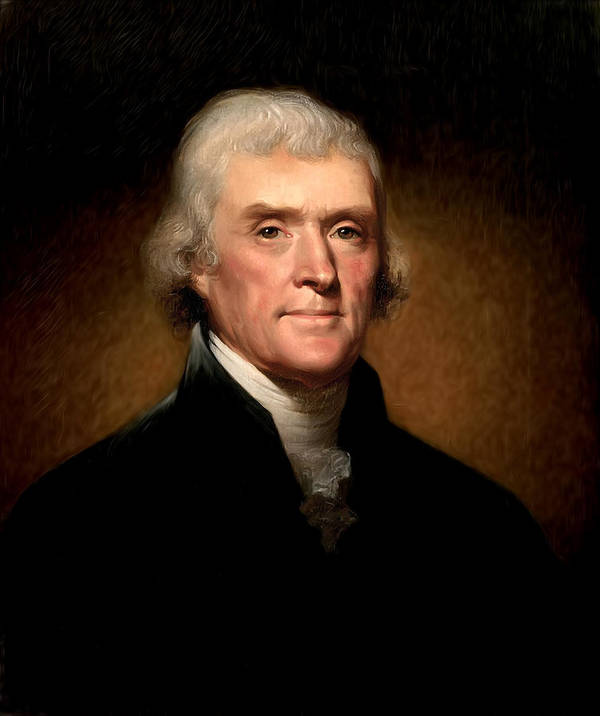 Thomas Jefferson By Rembrandt Peale Art Print featuring the photograph Thomas Jefferson By Rembrandt Peale by Bill Cannon