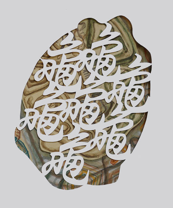 Turtle Art Print featuring the mixed media Turtle Shell's Inscription by Ousama Lazkani