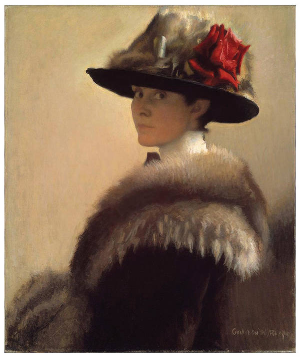 Gretchen Woodman Rogers Art Print featuring the painting Woman In A Fur Hat by Gretchen Woodman Rogers