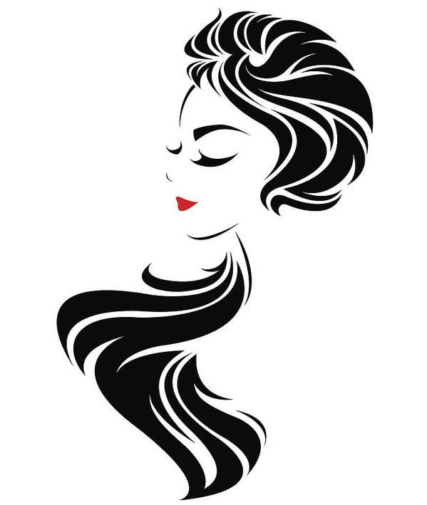 Women Long Hair Style Icon Logo Women Face Art Print By Bignoze