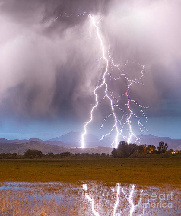 Awesome Print featuring the photograph Lightning Striking Longs Peak Foothills 6 by James BO Insogna