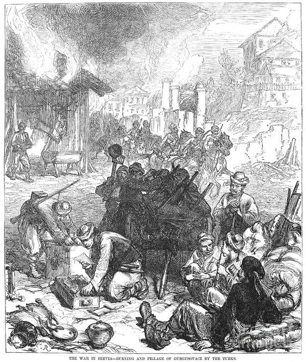 1876 Print featuring the photograph Balkan Insurgency, 1876 by Granger