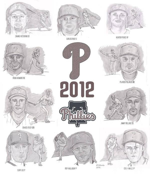 Philadelphia Phillies Art Print featuring the drawing 2012 Phightin' Phils by Chris DelVecchio