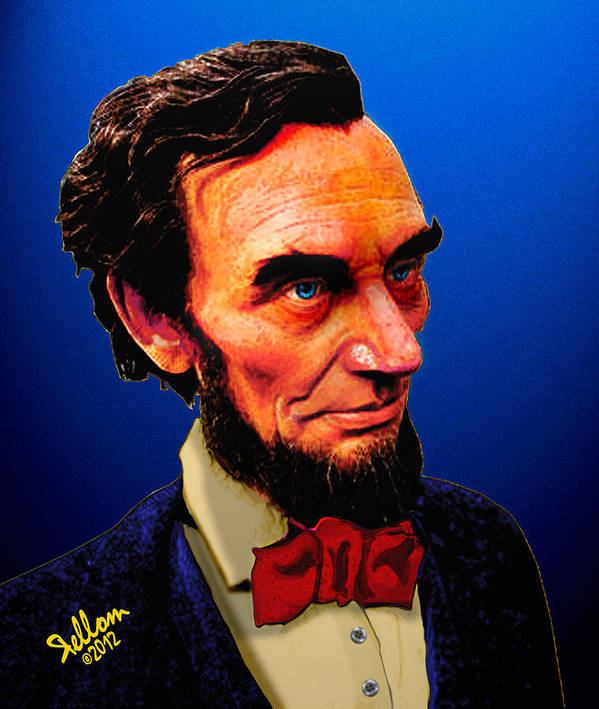 Abraham Lincoln Art Print featuring the digital art Abe Lincoln Blue by Che Rellom
