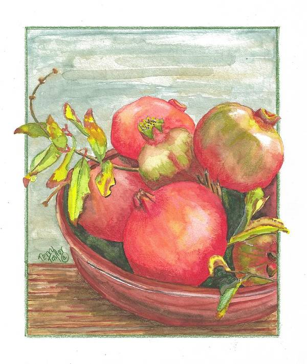 Pomegranate Art Print featuring the painting Bowl Of Pomegranates by Terry Taylor