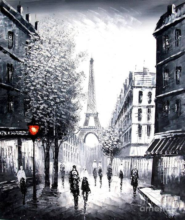 Landscape Art Print featuring the painting City Of Love by Vishal Lakhani