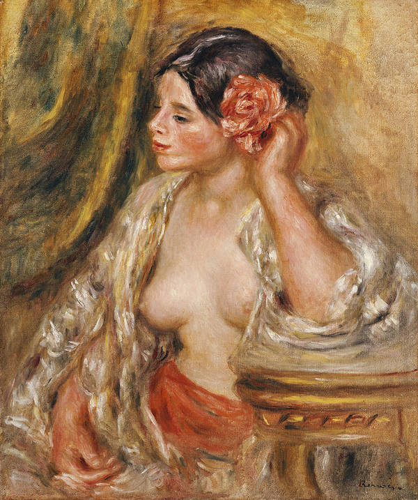 Impressionist; Impressionism; Female; Portrait; Seated; Sitting; Half Length Art Print featuring the painting Gabrielle A Sa Coiffure by Pierre Auguste Renoir