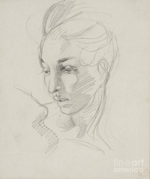 Head Art Print featuring the drawing Head Of Liberty by Ferdinand Victor Eugene Delacroix