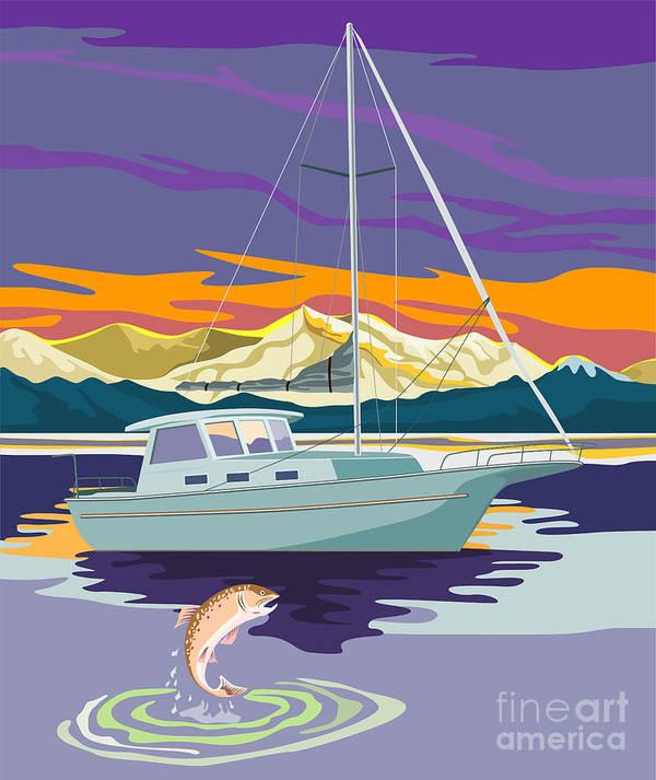 Sailing Ship Art Print featuring the digital art Sailboat Retro by Aloysius Patrimonio