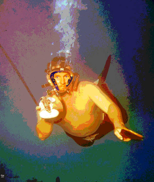 Scuba Diving Art Print featuring the mixed media Scuba Diver by Charles Shoup