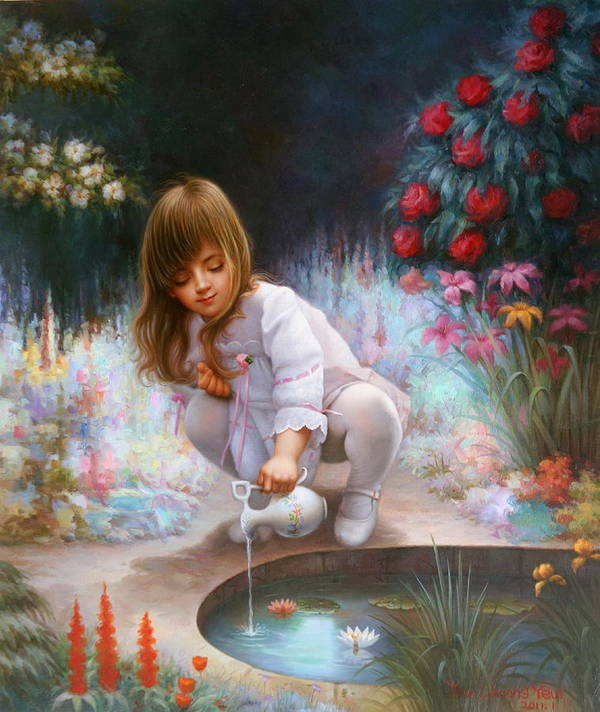 Contemporary Art Art Print featuring the painting Pond And Girl by Yoo Choong Yeul