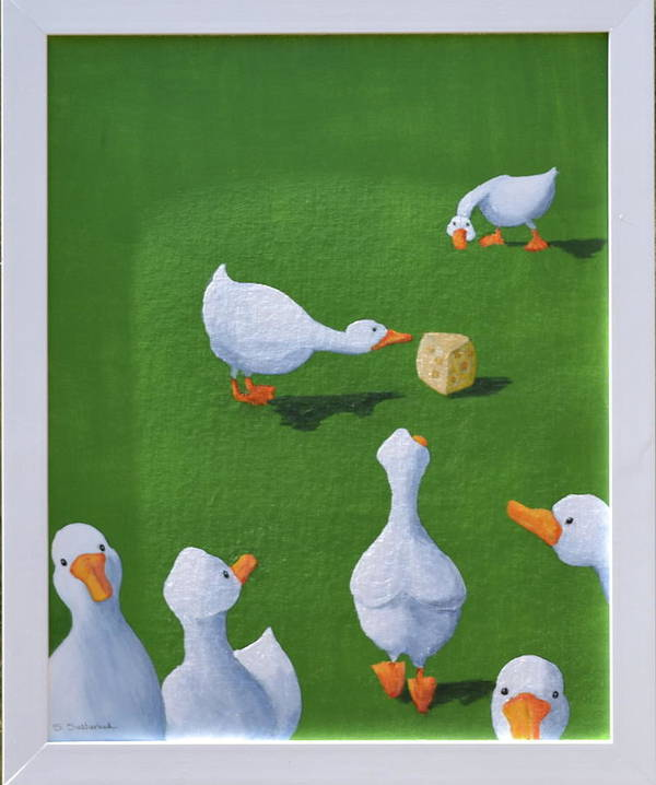 Ducks With Cheese Art Print featuring the painting Cheese And Quackers by Sheryl Sutherland