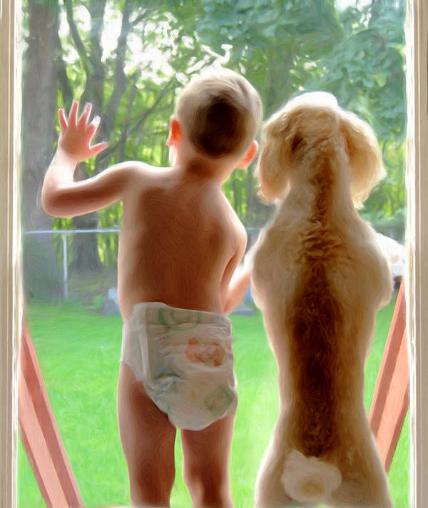 Boy And Dog Art Print featuring the painting Jack And Buddy by Russell Michael