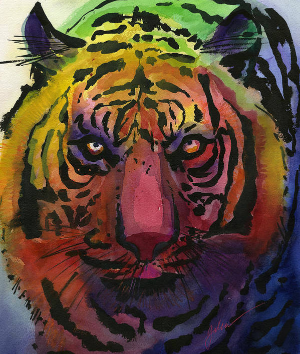 Tiger Art Print featuring the painting Tiger Tiger by Galen Hazelhofer