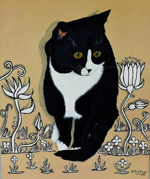 Tuxedo Cat Art Print featuring the painting Tuxedo Cat by Adrian Ramos